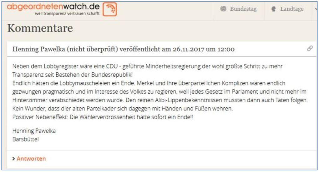 Ein Kommentar auf abgeordnetenwatch.de